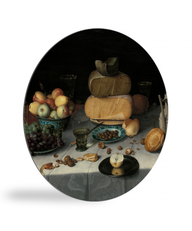 Stilleven met kazen - Schilderij van Floris Claesz van Dijck wandcirkel