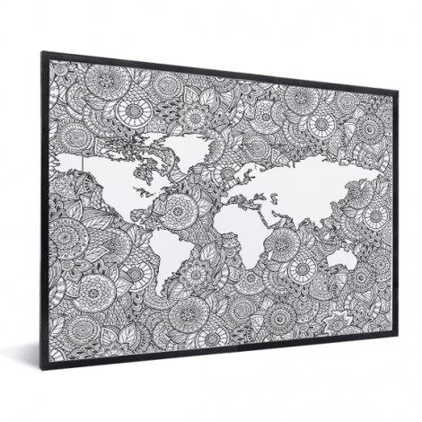 Aziatische print zwart-wit in lijst