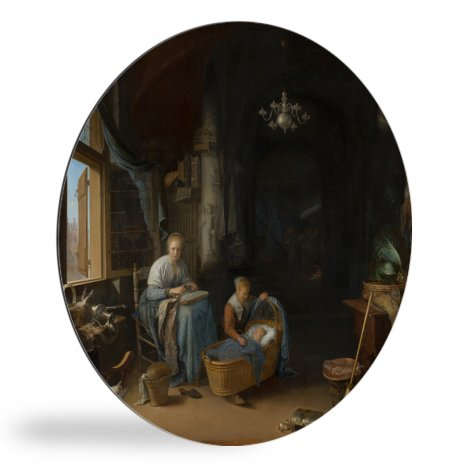De jonge moeder - Schilderij van Gerrit Dou wandcirkel