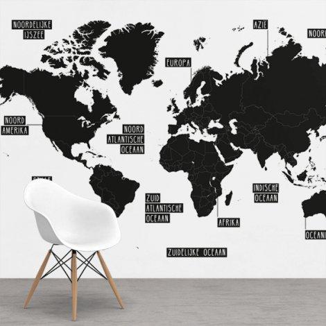 Eenvoudig - zwart/wit behang