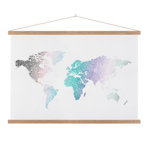 Vingerafdruk kleur textielposter