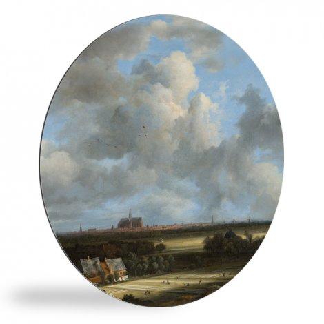 Gezicht op Haarlem met bleekvelden - Schilderij van Jacob van Ruisdael wandcirkel
