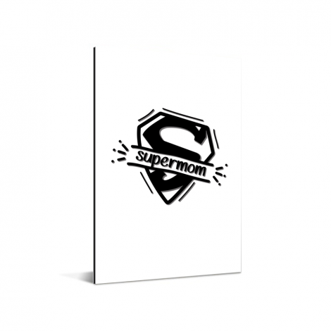 Moederdag - Supermom zwart wit Aluminium