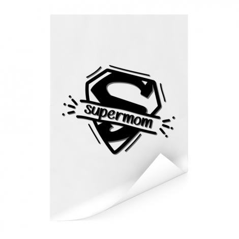 Moederdag - Supermom zwart wit Poster
