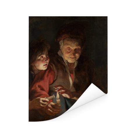 Oude vrouw en jongen met kaarsen - Schilderij van Peter Paul Rubens Poster