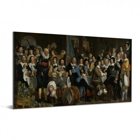 Schuttersmaaltijd ter viering van de Vrede van Munster - Schilderij van Bartholomeus van der Helst Aluminium