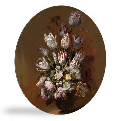 Stilleven met bloemen - Schilderij van Hans Bollongier wandcirkel