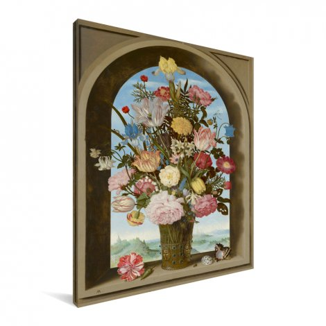 Vaas met bloemen in een venster - Schilderij van Ambrosius Bosschaert de Oude Canvas