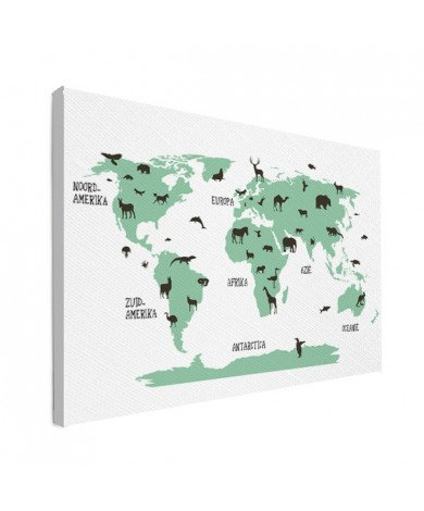 Dieren groen canvas