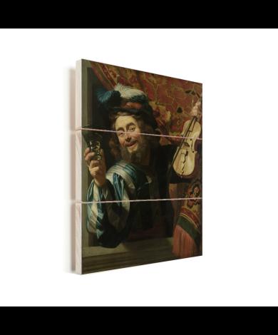 Een vrolijke vioolspeler - Schilderij van Gerard van Honthorst Vurenhout met planken