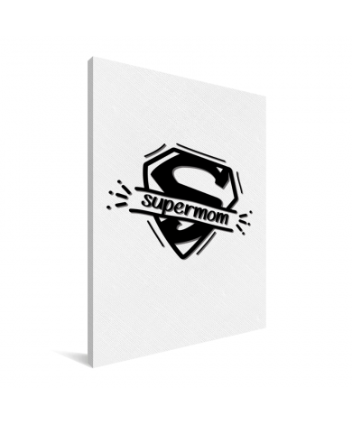 Moederdag - Supermom zwart wit Canvas