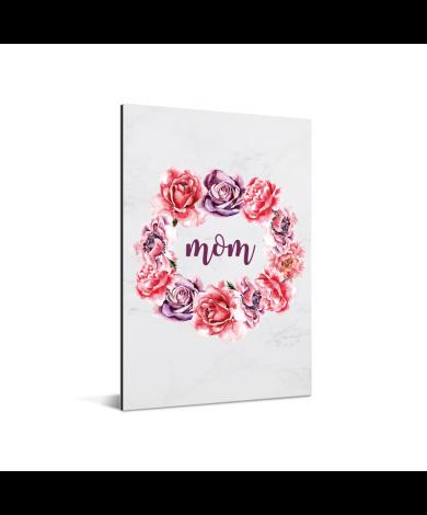 Moederdag - bloemenprint en tekst - Mom Aluminium