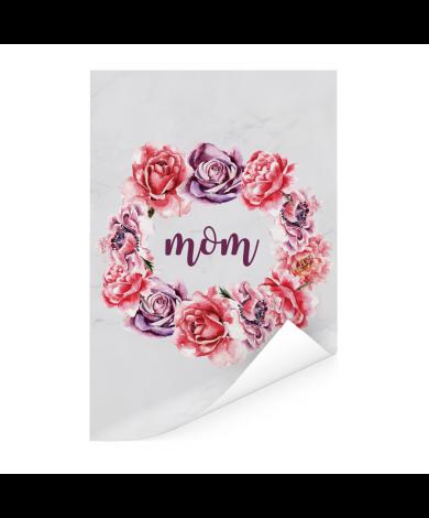 Moederdag - bloemenprint en tekst - Mom Poster