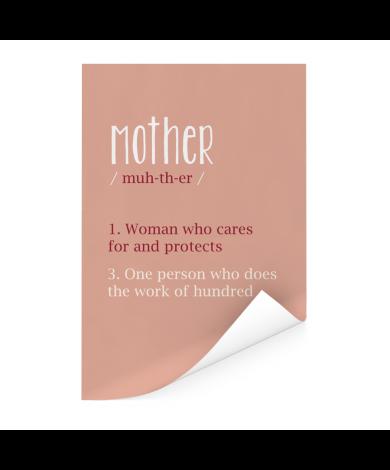Moederdag - Zalmroze print met tekst Mother Poster