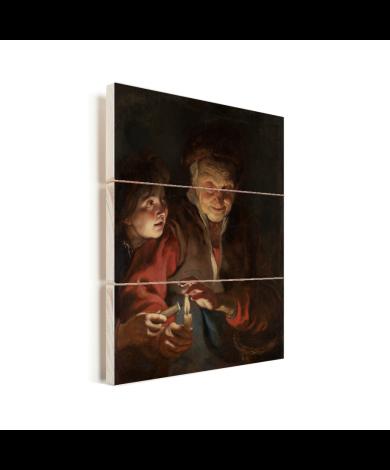 Oude vrouw en jongen met kaarsen - Schilderij van Peter Paul Rubens Vurenhout met planken