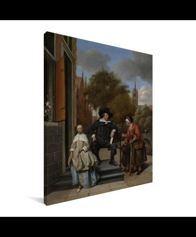 Portret van Adolf en Catharina Croeser aan de Oude Delft - Schilderij van Jan Steen Canvas