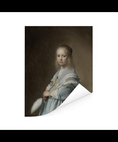 Portret van een meisje in het blauw - Schilderij van Johannes Cornelisz Verspronck Poster