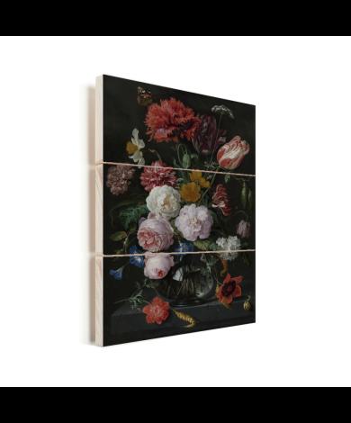 Stilleven met bloemen in een glazen vaas - Schilderij van Jan Davidsz de Heem Vurenhout met planken