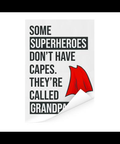 Vaderdag - Cadeau voor opa met tekst - Superheroes Poster