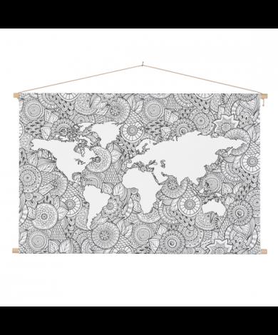Aziatische print zwart-wit textielposter