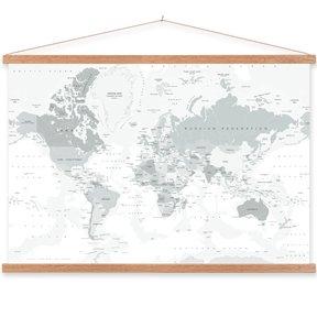 Wereldkaart op textielposter