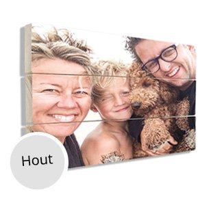 Houten plaat met gezin