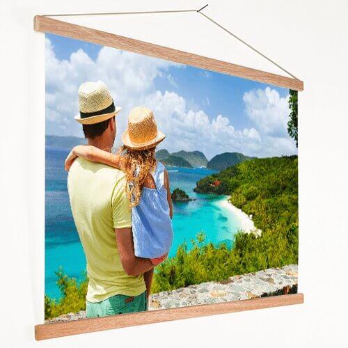 Foto op textielposter vader met kind