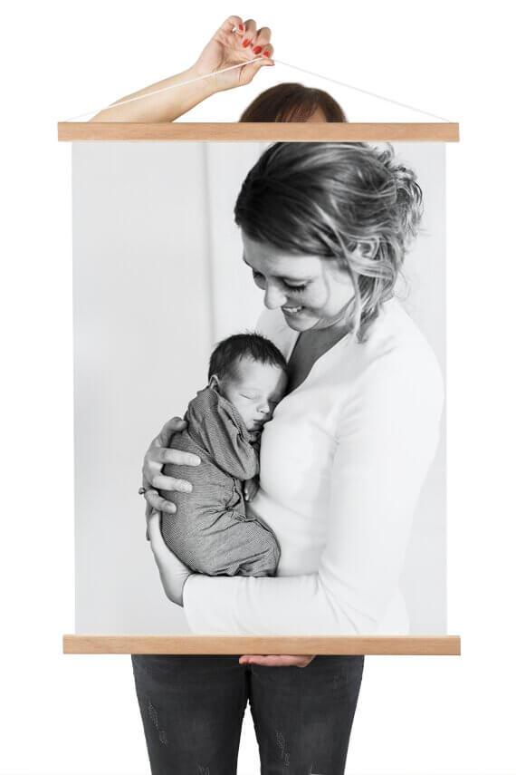 Textielposter met eigen foto moeder en kind