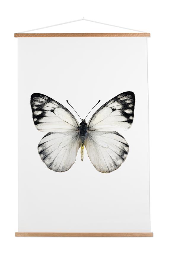textielposter met latten interieurtrend vlinder
