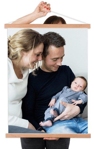Foto op textielposter met gezin