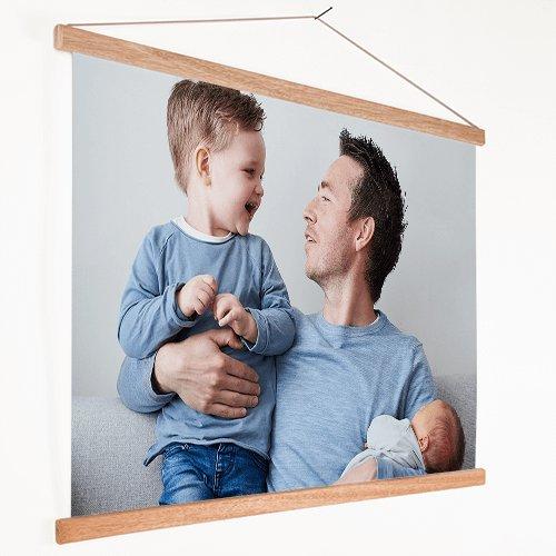 Foto op textielposter vader met kinderen