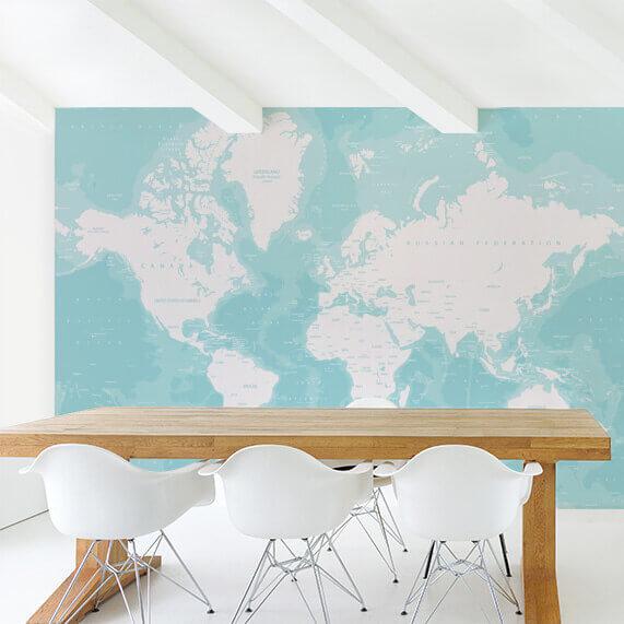 Gekleurde wereldkaart op behang